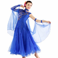 Wholesale Spandex Dance Dresses - Women Ballroom Waltz Dresses New Style Lace Sleeve Competition Flamenco Ballroom Dance Dress Lady's Standard Dancing Skirt