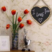 Wholesale Antique Chalkboards - Wholesale-Heart Shaped Hanging Wooden Blackboard Chalkboard Wordpad Message Board