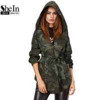Wholesale womens shawls jackets resale online - SheIn Spring Jacket Women Casual Outerwear Womens Olive Green Camo Print Hooded Shawl Collar Wrap Belted Jacket