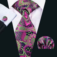 Wholesale purple tie square pocket - Purple and Green Ties Men Wholesale Neckties Necktie Ties for Men with Cufflinks Pocket Square Gift for Father Friend N-1629