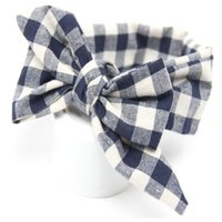 Wholesale shabby hair - Blending Plaid Baby Girls Headband Girls Shabby Chic Headband Rural DIY Baby Bow headband Hair Accessories