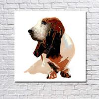 yeni modern yağlı boya toptan satış-Gerçekçi köpek resmi duvar dekorasyonu için dekoratif yeni tasarım hayvan yağlıboya ucuz modern tuval sanat