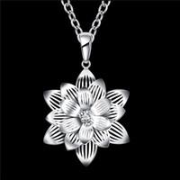 venda de flor de lótus venda por atacado-Colar de Pingente de forma de flor de Lótus das mulheres novas branco gemstone sterling silver banhado a colar STSN735, venda quente moda 925 colar de prata