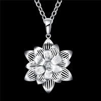 Wholesale Gemstone Flower Pendant - New arrival women's Lotus flower shape Pendant Necklace white gemstone sterling silver necklace STSN735,hot sale fashion 925 silver necklace