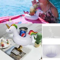 2017 Unicorn Inflável Drink Cup Holder White Beverage Holders Pegasus Floating Glass Inflável Pool Party Toy Supplies Beach Phone Stand