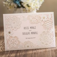 Discount easter birthday invitations - New 2018 White Lace Flora Wedding Invitations Cards Laser Cut Hollow Flowers Party Cards Beautiful Fashion Wedding Favors