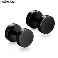 Wholesale Gothic Punk Stud Earrings - Wholesale 8mm Fashion Brand Black Silver Stainless Steel Earrings Women Men's Barbell Dumbbell Punk Gothic Stud Earring For Men E101