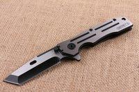 cuchillo plegable al por mayor-2016 Nueva Llegada Cuchillo Plegable Flipper Plegable 440C 58HRC Fin de Dibujo de Alambre Cuchilla de Supervivencia Al Aire Libre Cuchillo Plegable Cuchillo de Colección