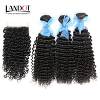 Wholesale mongolian kinky curly hair 4pcs - Mongolian Kinky Curly Virgin Human Hair Weaves With Closure 4Pcs Lot 3 Bundles Unprocessed Mongolian Kinky Curly Remy Hair And Lace Closures