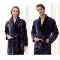 Wholesale Velvet Nightgowns - Wholesale- Robe sexy The new flannel nightgown bathrobe couple pajamas home service robes men and women of coral velvet robe bathrobe