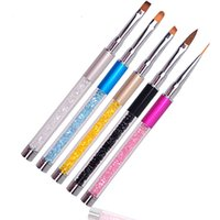 Wholesale Liquid Gel Pen - Nail Art Brush Pen Rhinestone Diamond Metal Acrylic Handle Carving Powder Gel Liquid Salon Liner Nail Brush With Cap 2017 New
