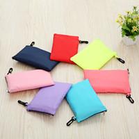 Wholesale korea coin purses - 2017 New korea fashion foldable shopping bag environmentable reusable storage bag zipper purses wallet coin bags wholesale