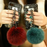Wholesale Real Diamond Iphone Case - Super Luxury Fashion Diamond Chain Real Fox Hair Fur Ball Bling Black Phone Case Cover For Iphone 7  7 plus  6 6S 6 6s Plus  5 5S SE