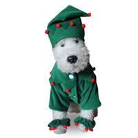 Wholesale christmas elf clothes - Claus Dog Costume Santa Elf Pet Cat Coat Winter Clothes Christmas Apparel Cotton Clothing for dogs