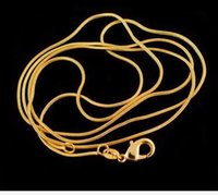 Wholesale Gold Plate Chain Necklace Discount - big discount jelwery accessories 1mm 18K gold plated snake chain pendant necklace bone necklace 16-30 inch hot sale free shipping
