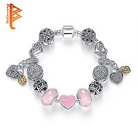Wholesale Crystal Chain For Jewelry Making - BELAWANG Fashion Pink Color Charm Bracelets Silver Plated Crystal European Charm Beads Fit DIY Style Bracelets Jewelry Making For Women Gift
