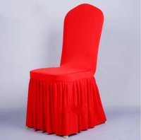 Wholesale Elegant Chinese Traditional - Elegant Werstern Red Satin Chair Covers 45*45*55CM Pleats Wedding Supplies Desk Chair Covers Special Occasion Hotel Wedding Chair Covers