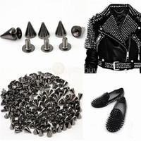 tacos de cono punk al por mayor-Cono de metal Screwback Spikes Stud para zapatos de bolso de cuero punky Ropa Spikes de metal para bricolaje Collar de cuero Belt (7X10mm)