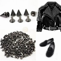 studs for clothing shoes achat en gros de-Metal Cone Screwback Spikes Stud pour Punk Leather Bag Chaussures Vêtements Metal Spikes For DIY Leather Collar Belt (7X10mm)