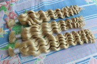 Wholesale deep wave braiding hair 18 inches resale online - Super Deal Blonde Curly Braiding Hair Brasil Extensions In Bulk Cheap Deep Wave Brazilian Human Hair Bulk For Braids No Attachment