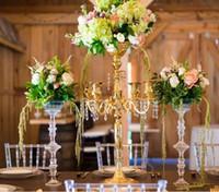 jarrones para bodas centros de mesa al por mayor-centros de mesa en forma de taza de flores de oro para bodas, centros de mesa florero para mesas de bodas al por mayor