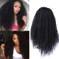 Wholesale Long Heavy Hair - Heavy Density Human Hair Wigs Kinky Curly Full Lace Wig Glueless Front Lace Wigs Virgin Brazilian Hair Wigs Bleached Knots With Baby Hair