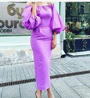 Wholesale tea length taffeta plus size - 2016 Purple Prom Dresses Sheath Off the Shoulder Long Ruffle Sleeves Tea Length Saudi Arabic Evening Gowns