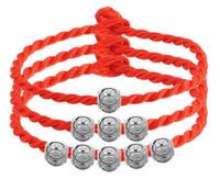 amuletos de cuerda roja al por mayor-Pulsera de cadena de cadena roja con plata de ley 925 perlas de buena suerte encanto de la vendimia Lucky Love Beads pulseras joyería al por mayor