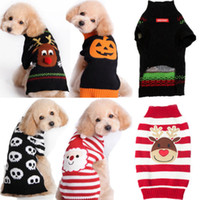 Wholesale Dog Reindeer - Wholesale-Hot Xmas Reindeer Design Lovely Puppy Pet Cat Dog Winter Sweater Knitted Warm Halloween Coat Apparel Clothes Christmas