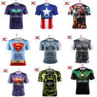 Wholesale Superhero Boys Shirts - DHL 53 styles Superhero 3D short sleeved T-shirt Deadpool Batman spider-man captain America Flash Iron Man Marvel Tee tops for man