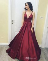 2018 Dark Red New Design V Neck Prom Dresses Sexy Spaghetti Strap Sweep Train Satin Borgonha Pageant Vestidos Long Prom Party Dress Cheap