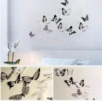 Hot 18pcs Black / White Crystal Butterfly Autocollant Art Decal Home Decor Stickers muraux Autocollants DIY Decal Christmas Wedding Decoration Gift