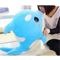golfinho azul de pelúcia venda por atacado-Muito lindo Plush Azul Preto golfinho baleia de brinquedo boneca De Peixe Para O Presente Das Crianças 60 cm Macio Stuffed Animal Toy