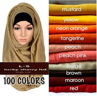 Wholesale Muslim Scarf Head Wraps - 30pcs lot women solid maxi scarves hijab stole oversize islamic shawls foulard head wraps soft long muslim viscose plain hijabs