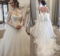 Wholesale Brautkleider Winter - High Neck Long Sleeve Wedding Dresses With Appliques Elegant Long Bridal Gowns With Big Bow Back brautkleider
