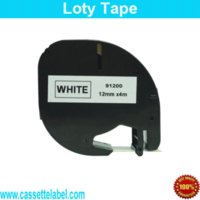 Cheap 5pcs 12mm black on white dymo 91201 label tape compatible for DYMO LetraTag Plastic Tape 91201 label printer ribbon label maker