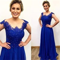Wholesale Lace Bridemaid Gowns - Elegant Royal Blue Long Prom Dresses Applique Lace And Chiffon Beads Capped Sleeves Bridemaid Evening Party Gowns Robe de soiree