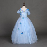 Wholesale Diamond Girls - snowflake diamond cinderella dress 2016 fancy dress costumes for kids blue cinderella gown Halloween baby girl butterfly dress in stock