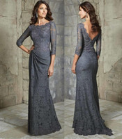 Wholesale Silver Full Length Evening Gown - Elegant Full Lace Mother Of The Bride Dresses A Line Backless 3 4 Long Sleeves Floor Length Plus Size Formal Evening Gowns
