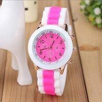 Wholesale Silicon Brand Wrist Watches - Dual Color Silicon Fashion Silicone Women's Wrist Watches childrens Cartoon Quartz Watch Brand GENEVA watches for Women relojes mujer clock