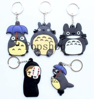 ingrosso portachiavi vicino totoro-100 pz / lotto My Neighbor Totoro Keychain Lovers Creativi Portachiavi PVC Cartoon Totoro Portachiavi Titan Best Christmas Birthday Gift