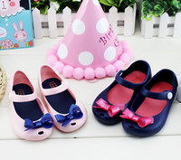 Wholesale melissa shoes beach jelly - Melissa Children Soft Bottom Princess Girls Bow Shoes Jelly Crystal peep-toe Sandals Shoes Beach shoes free shipping