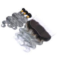 Wholesale Virgin Ombre Hair For Weave - Cheap 3pcs virgin human hair with lace frontal ombre silver body wave brazilian grey hair 1b gray two tone hair for black women