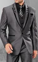 Wholesale Tailcoat Suits - Slim Silver Grey Satin Groom Tuxedos Best Man Groomsmen Men Wedding Suits