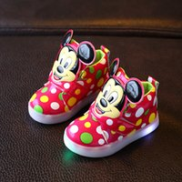 Wholesale Lovely Print Girl Boys - 2017 New fashion LED lighting children casual shoes Mickey lovely boys girls sneakers Cartoon Elegant baby kids boots size 21~30
