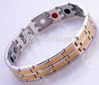 Wholesale Infrared Bracelet - Fashion jewelry super health stainless steel men's energy magnetic bracelets with germanium infrared ion