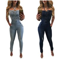Wholesale Hanging Jeans - 2017 New Spring And Autumn Fashion Women Jeans Jumpsuits Show Thin Chest Bandage Pants Slim Hanging Neck Jeans