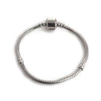 Wholesale European Bracelets Toggle - Fashion Silver Snake Chain Bangles Bracelets Fit European Charm Beads For Ladies Women