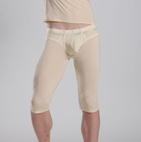 Wholesale Transparent White Pajama - Wholesale-1PCS Men Transparent Capris Sexy Ice Silk Pants Low Waist Five Pants Sexy Tight Convex Pouch Pocket Pajama Breathable Trousers