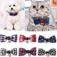 Wholesale kitten collars bells - New Adjustable Puppy Kitten Dog Cat Pet Bow Tie With Bell Necktie Collar